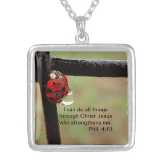 Lady Bug carrying a rain drop Silver Plated Necklace