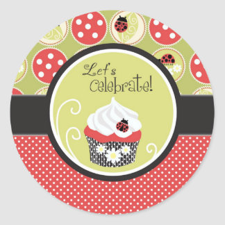 Lady Bug & Cupcake Birthday Classic Round Sticker