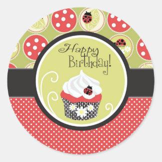 Lady Bug & Cupcake Birthday Round Sticker