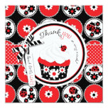 Lady Bug Cupcake Thank You 13 Cm X 13 Cm Square Invitation Card