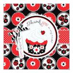 Lady Bug Cupcake Thank You 13 Cm X 13 Cm Square Invitation Card