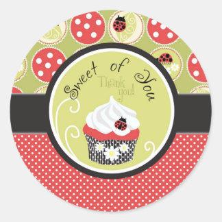 Lady Bug & Cupcake Thank You Round Sticker