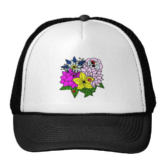 Lady Bug Flower Bouquet Mesh Hats