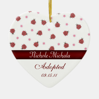 Lady Bug Heart Adoption Announcement Christmas Ornament