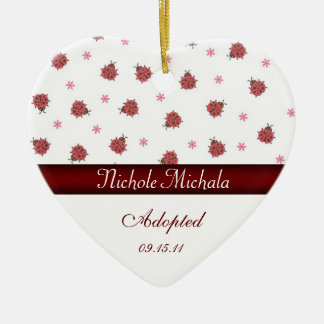 Lady Bug Heart Shaped Adoption Announcement Keepsa Christmas Ornament