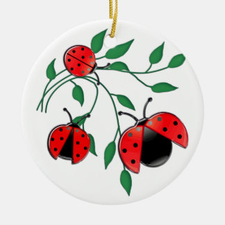 Lady Bug, Lady Bugs Round Ceramic Decoration