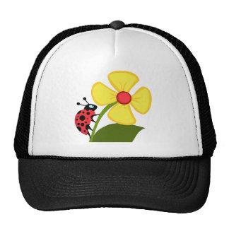 Lady Bug on Yellow Flower Mesh Hats