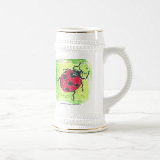 lady bug red on a beer stein coffee mugs