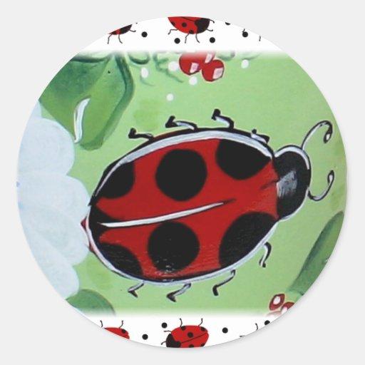 Lady-Bug Round Sticker