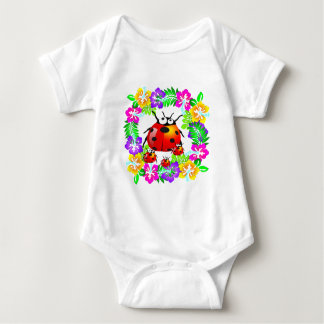 lady bug with babies on colorful hibiscus flowers baby bodysuit