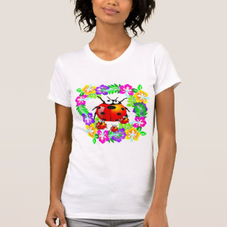 lady bug with babies on colorful hibiscus flowers t-shirt