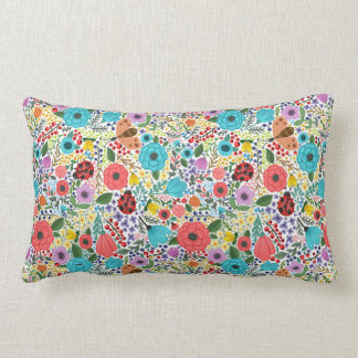 Lady Bugs and Flowers Lumbar Pillow