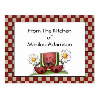Lady Bugs and Watermelon Recipe Cards