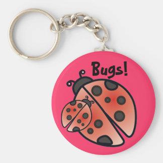LADY BUGS by SHARON SHARPE Basic Round Button Key Ring
