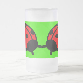 Lady Bugs Frosted 16 oz Frosted Glass Mug