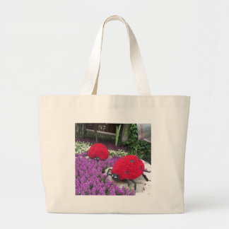 Lady BUGS n pink FLOWERS Butterfly Garden Gifts Tote Bag