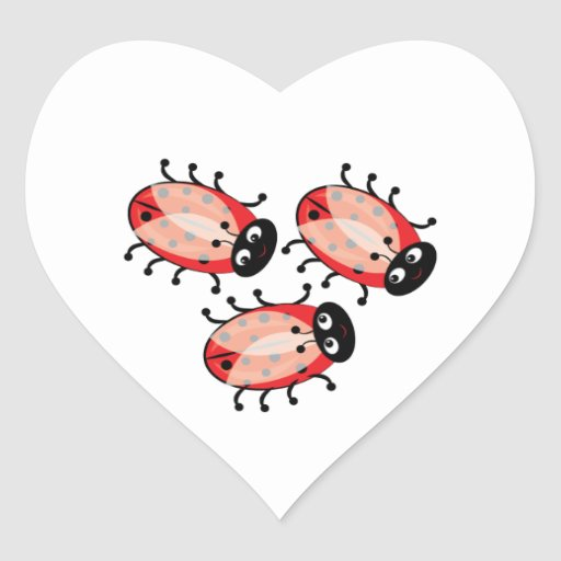 Lady Bugs Heart Sticker