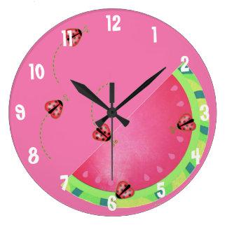 Lady Bug's Watermelon (pink) clock