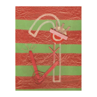 Lady Candy Cane Wooden Canvas Wood Canvas