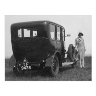 Lady & Car Vintage Black & White Image Postcard