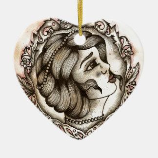 Lady Ceramic Heart Decoration