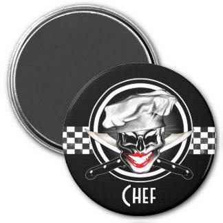 Lady Chef Skull 3 Inch Round Magnet