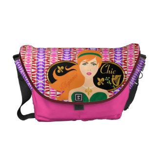 Lady Chic Elegance Candy Stripe Messenger Bag