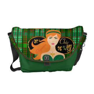 Lady Chic Elegance Green Plaid Messenger Bag