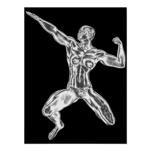 Lady Chrome Bodybuilder Pose Poster