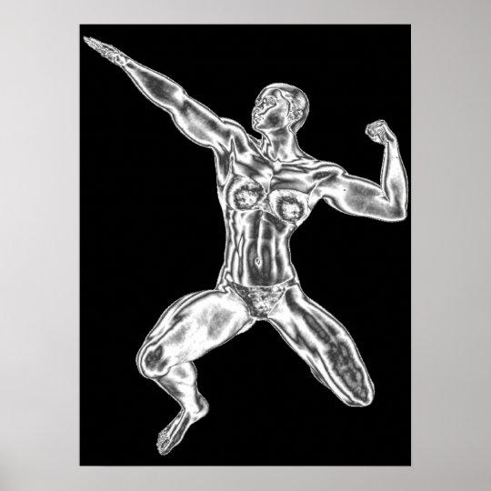 Lady Chrome Bodybuilder Pose Poster