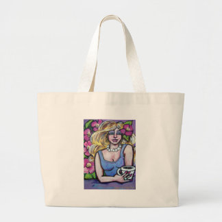 lady coffee large tote bag