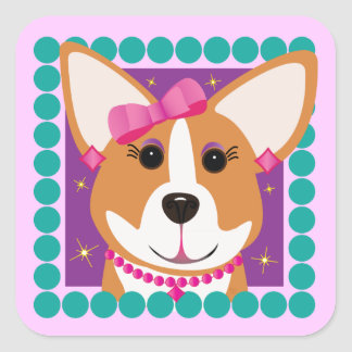 Lady Corgi Dog Stickers