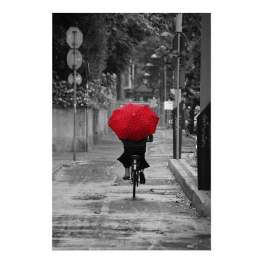 Lady Cyclist with a Red Umbrella, Florence, Italy