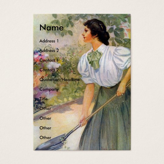 Lady Digging in Her Flower Garden Business Card