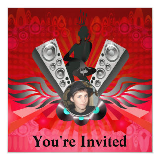 Lady DJ Speakers Pumping Add Your Photo 13 Cm X 13 Cm Square Invitation Card