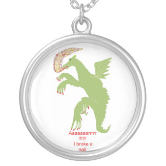 LADY DRAGON WITH BROKEN NAIL SILVER PLATED NECKLACE
