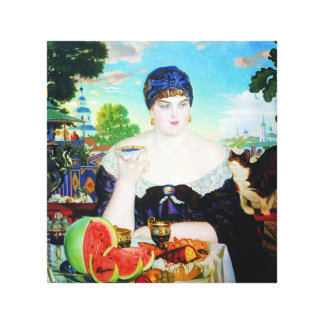 Lady Drinking Tea with Cat Canvas Prints