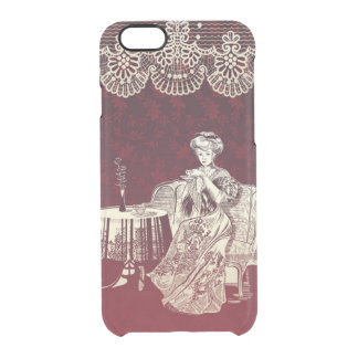 lady drinks tea clear iPhone 6/6S case