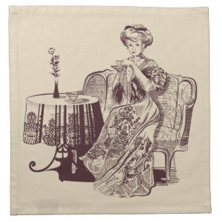 lady drinks tea napkin