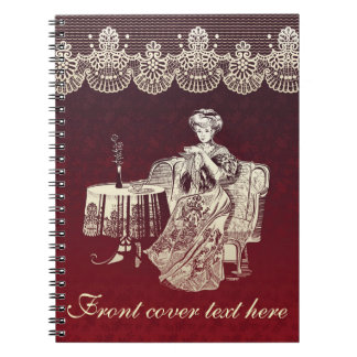 lady drinks tea notebook