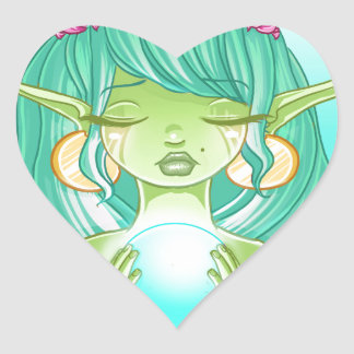 Lady elf of the lake heart sticker
