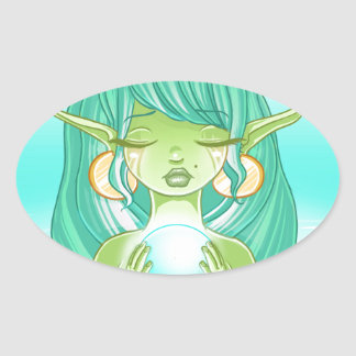 Lady elf of the lake oval sticker