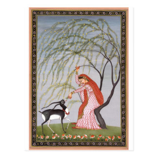 LADY FEEDING ANTELOPE ANCIENT INDIA ART POSTCARD