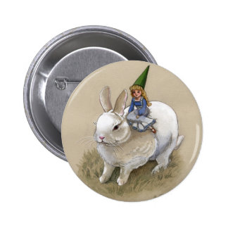 Lady Gnome and Rabbit 6 Cm Round Badge