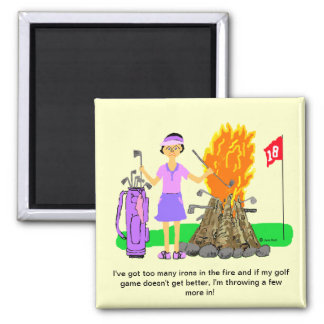 Lady Golf Cartoon Magnet