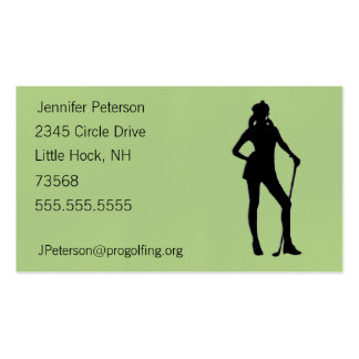 Lady Golf Green Pack Of Standard Business Cards