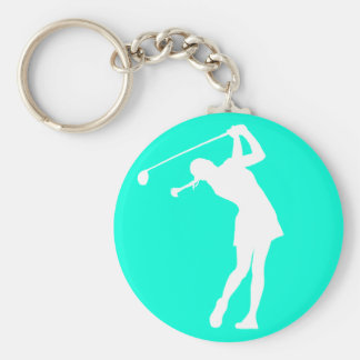 Lady Golfer Silhouette Keychain Turquoise