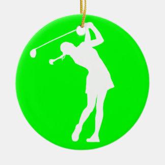 Lady Golfer Silhouette Ornament Green
