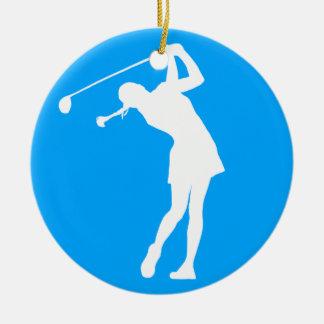 Lady Golfer Silhouette Ornament w/Name Blue