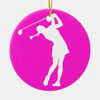 Lady Golfer Silhouette Ornament w/Name Pink